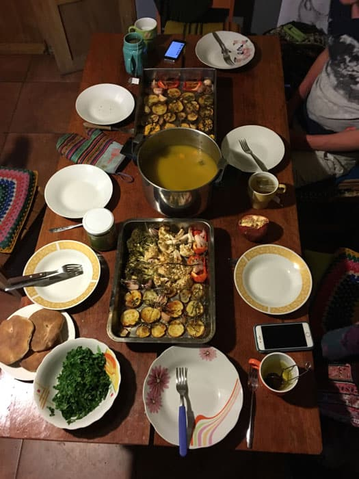 The beautiful meal. Roasted veggies, soup, bread and pestos.