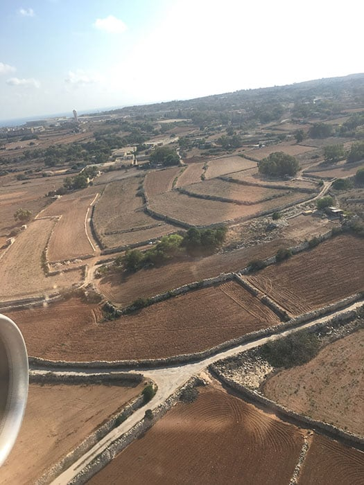 View of the fields when landing