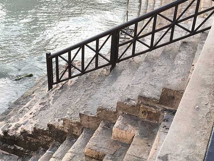 Steps down to the water