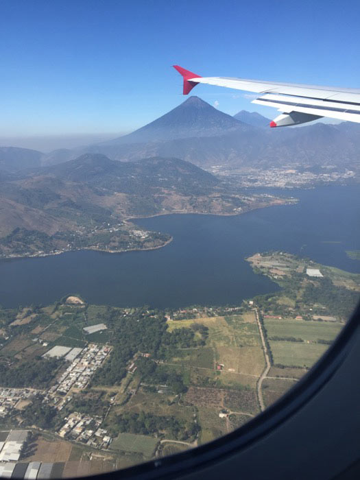 view of Equador lake from plane